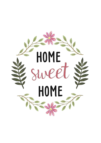 quadro e poster home sweet home floral quadrorama. Black Bedroom Furniture Sets. Home Design Ideas